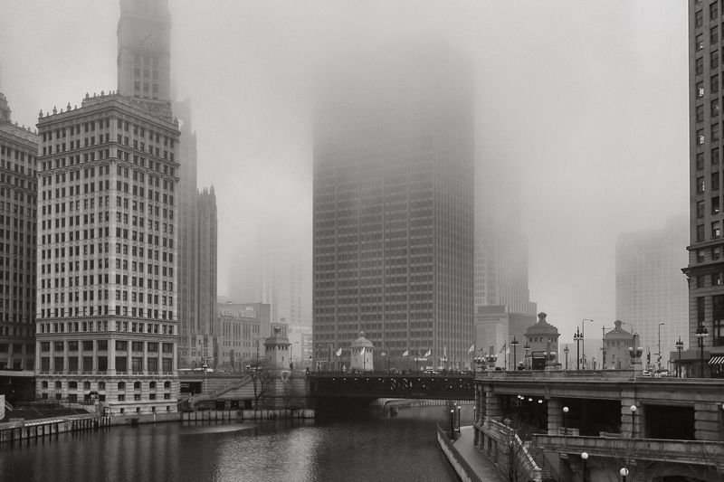 Foggy Chicago river-1