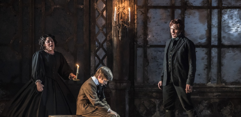 6The Turn of the Screw Garsington Opera2019 SophieBevan(Governess)  Leo Memison (Miles)  Ed Lyon (Peter Quint) credit Johan Persson